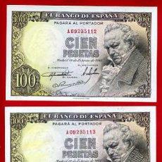 Billetes españoles: TRIO BILLETES 100 PESETAS 1946 GOYA EBC+ CORRELATIVOS , SERIE A , T113. Lote 26822804