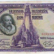 Billetes españoles: EMISION, 15 - AGOSTO - 1928, 100 PTS. SIN SERIE MBC+ (VER FOTOS). Lote 56015527