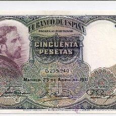 Billetes españoles: ESCASO BILLETE DE 50 PTS SIN SERIE Nº BAJO 0259940 II REPÚBLICA EMISIÓN 25 ABRIL DE 1931. S/C. Lote 27121808
