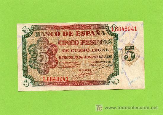 BILLETE 5 PESETAS. BANCO DE ESPAÑA. 10 AGOSTO 1938. BURGOS. EBC (Numismática - Notafilia - Billetes Españoles)