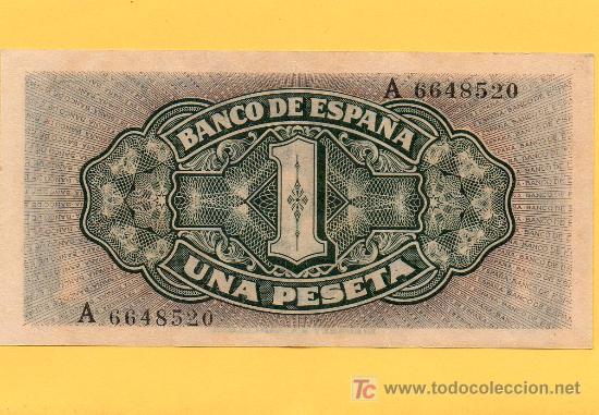 Billetes españoles: BILLETE 1 PESETA. BANCO DE ESPAÑA. SANTA MARÍA. 1.940. RIEUSSET. EBC - Foto 2 - 27369452
