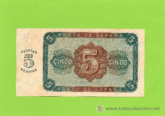 Billetes españoles: BILLETE 5 PESETAS. BANCO DE ESPAÑA. 10 AGOSTO 1938. BURGOS. EBC - Foto 2 - 27369454