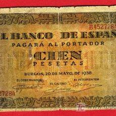 Billetes españoles: BILLETE 100 PESETAS 1938 , MBC--- , SERIE B , T284. Lote 24915210