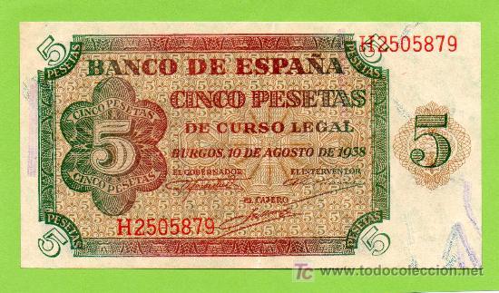 BANCO DE ESPAÑA. 5 PESETAS. BURGOS, 10 AGOSTO 1938. PRECIOSO !! (Numismática - Notafilia - Billetes Españoles)