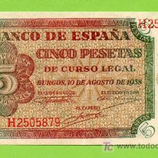 Billetes españoles: BANCO DE ESPAÑA. 5 PESETAS. BURGOS, 10 AGOSTO 1938. PRECIOSO !!. Lote 27046178