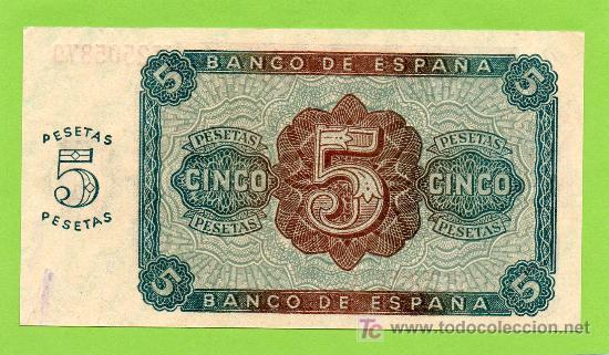 Billetes españoles: BANCO DE ESPAÑA. 5 PESETAS. BURGOS, 10 AGOSTO 1938. PRECIOSO !! - Foto 2 - 27046178