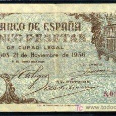 Billetes españoles: 5 PTAS BURGOS 1936 - APROX. EBC. Lote 26972678