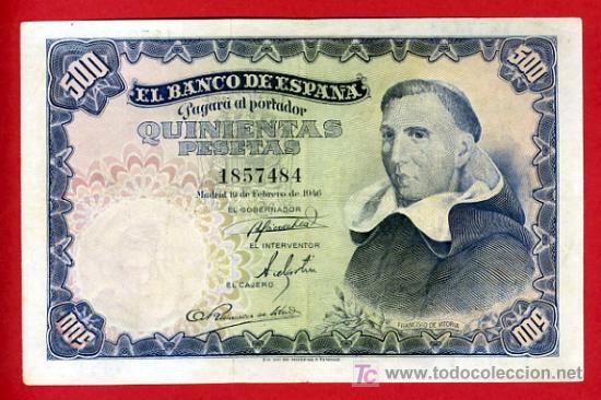 BILLETE 500 PESETAS 1946 , MBC++ , SIN SERIE , T484 (Numismática - Notafilia - Billetes Españoles)
