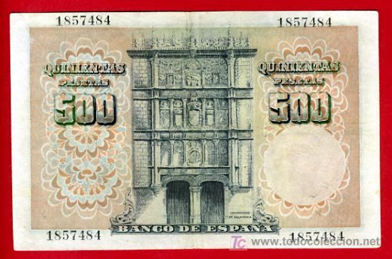 Billetes españoles: BILLETE 500 PESETAS 1946 , MBC++ , SIN SERIE , T484 - Foto 2 - 25067164