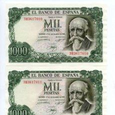 Billetes españoles: 1000 PESETAS DE 1971. TRIO CORRELATIVO SC. Lote 26593739