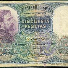 Billetes españoles: 50 PTAS 25-04-1931. Lote 27083991