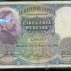 Billetes españoles: 50 PTAS 25-04-1931. Lote 27218969