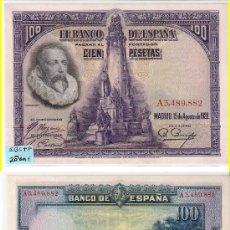 Billetes españoles: BILLETE 100 PESETAS DE 1928 DE ALFONSO XIII QUE CIRCULÓ EN LA SEGUNDA REPÚBLICA. SIN CIRCULAR- (E48). Lote 23089144