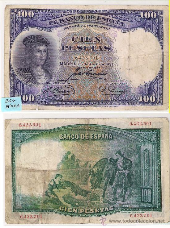 E54-BILLETE II REPÚBLICA. 100 PESETAS. MADRID. 1931. BC+ (Numismática - Notafilia - Billetes Españoles)