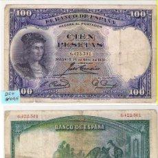 Billetes españoles: E54-BILLETE II REPÚBLICA. 100 PESETAS. MADRID. 1931. BC+. Lote 23140090