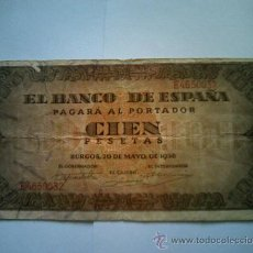 Billetes españoles: BILLETE 100 PESETAS 1938. Lote 26439777