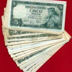 Billetes españoles: LOTE DE 35 BILLETES DE 5 PESETAS DE 1954 , MBC, DIFERENTES SERIES.. Lote 25625368