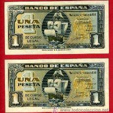 Billetes españoles: PAREJA BILLETES 1 PESETA 1940 SEPTIEMBRE , BARCO , EBC ,SERIE G , T256-257. Lote 25774051