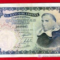 Billetes españoles: BILLETE 500 PESETAS 1946 , MBC+ , SIN SERIE , T907. Lote 26347932