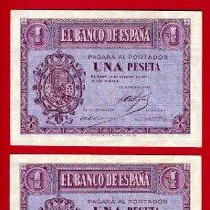 Billetes españoles: PAREJA DE BILLETES 1 PESETA 1937 , SIN CIRCULAR PLANCHA , SERIE E , T306-307. Lote 25774006