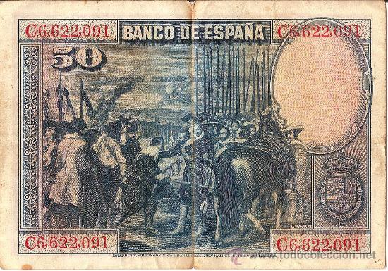 Billetes españoles: BANCO DE ESPAÑA. CINCUENTA PESETAS. 15 DE AGOSTO DE 1928. VELAZQUEZ. - Foto 2 - 26322556