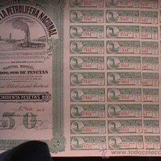 Billetes españoles: ACCION DE LA COMPAÑIA LA PETROLIFERA NACIONAL, SAN SEBASTIAN, 1928, DIEZ ACCIONES CORRELATIVAS. Lote 19687147