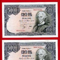 Billetes españoles: PAREJA 2 BILLETES DE 5000 PESETAS 1976 , EBC+ ,SERIE B , T393-394. Lote 23918496