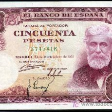 Billetes españoles: 50 PESETAS MADRID 31 DICIEMBRE 1951- SIN SERIE - EBC+. Lote 26972686