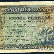 Billetes españoles: 5 PESETAS - MADRID 4 SEPTIEMBRE 1940- SERIE J - S/C. Lote 20469426