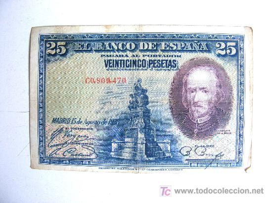 25, VEINTICINCO PESETAS, 15 DE AGOSTO DE 1928 (Numismática - Notafilia - Billetes Españoles)