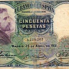 Billetes españoles: CINCUENTA PESETAS 1931. Lote 26073597
