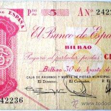 Billetes españoles: BANCO DE ESPAÑA BILBAO 5 PESETAS GUERRA CIVIL VER FOTOS. Lote 20760183
