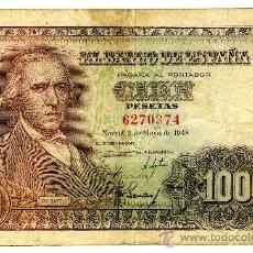 Billetes españoles: 100 PESETAS 2 MAYO 1948 SIN SERIE BAYEU MBC. Lote 26875471