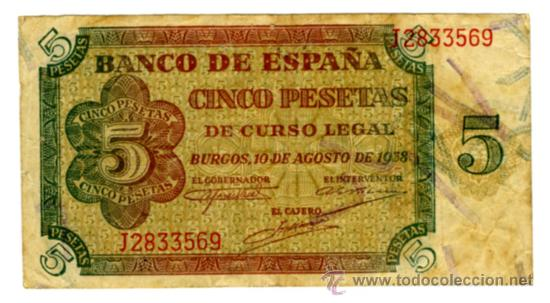 5 PESETAS BURGOS 10 AGOSTO DE 1938 (Numismática - Notafilia - Billetes Españoles)