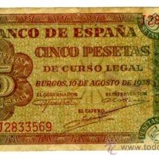 Billetes españoles: 5 PESETAS BURGOS 10 AGOSTO DE 1938 . Lote 27553273