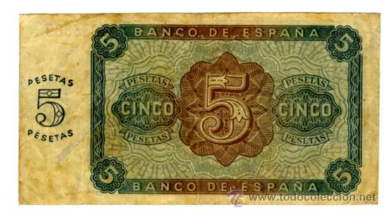 Billetes españoles: 5 pesetas burgos 10 agosto de 1938 - Foto 2 - 27553273