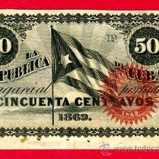 Billetes españoles: BILLETE 50 CENTAVOS REPUBLICA DE CUBA 1869 , EPOCA ESPAÑOLA, LETRA P , EBC-. Lote 25857826
