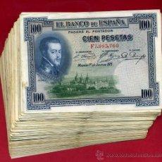 Billetes españoles: LOTE DE 100 BILLETES DE 100 PESETAS 1925 , MBC, ORIGINALES,. Lote 96130632