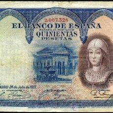 Billetes españoles: 500 PESETAS 1927 - ISABEL LA CATOLICA MBC. Lote 21833379
