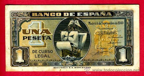 BILLETE 1 PESETA 1940 BARCO , EBC , SIN SERIE , T016 (Numismática - Notafilia - Billetes Españoles)