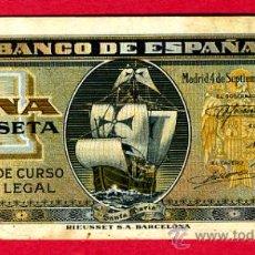 Billetes españoles: BILLETE 1 PESETA 1940 BARCO , EBC , SIN SERIE , T016. Lote 22747482