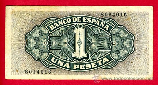 Billetes españoles: BILLETE 1 PESETA 1940 BARCO , EBC , SIN SERIE , T016 - Foto 2 - 22747482