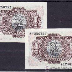 Billetes españoles: .BILLETE ESPAÑA 1953 - 1 PTA MARQUES DE SANTA CRUZ SERIE Z SIN CIRCULAR, PAREJA CORRELATIVA . Lote 22906140