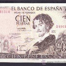 Billetes españoles: .BILLETE ESPAÑA 1965 - 100 PTA GUSTAVO ADOLFO BECQUER SERIE D LIGERO DOBLEZ. Lote 22908830