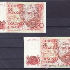 Billetes españoles: .BILLETE ESPAÑA 1980 - 200 PTA LEOPOLDO ALAS -CLARIN- SERIE A PLANCHA, PAREJA CORRELATIVA. Lote 22909100