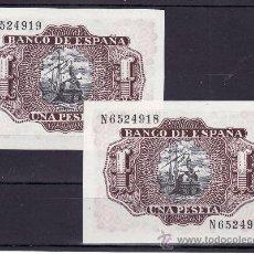 Billetes españoles: .BILLETE ESPAÑA 1953 - 1 PTA MARQUES DE SANTA CRUZ SERIE N SIN CIRCULAR, PAREJA CORRELATIVA. Lote 25588735