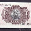 Billetes españoles: .BILLETE ESPAÑA 1953 - 1 PTA MARQUES DE SANTA CRUZ SERIE N SIN CIRCULAR, . Lote 165665210