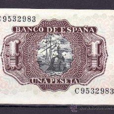 Billetes españoles: .BILLETE ESPAÑA 1953 - 1 PTA MARQUES DE SANTA CRUZ SERIE C SIN CIRCULAR,. Lote 169432170