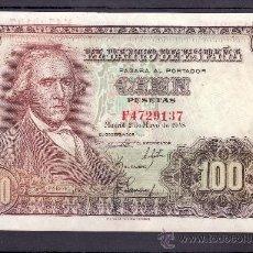 Billetes españoles: .BILLETE ESPAÑA 1948 - 100 PTA FRANCISCO BAYEU SERIE F SIN CIRCULAR CON LIGERO DOBLEZ . Lote 22910644