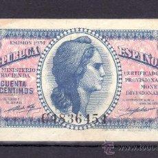 Billetes españoles: .BILLETE ESPAÑA 1937 - 50 CTS DE PTA MINISTERIO HACIENDA SERIE C SIN CIRCULAR, MANCHAS DEL TIEMPO. Lote 22939389